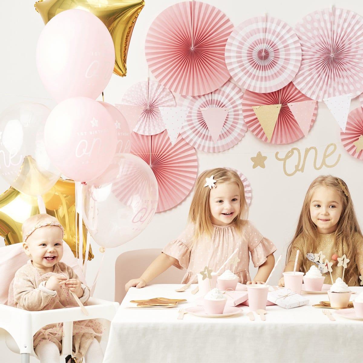 Set decoraci n primer cumplea os rosa mimarieta - Decoracion primer cumpleanos ...