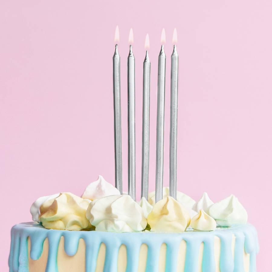 Velas Cumpleaños Plateadas